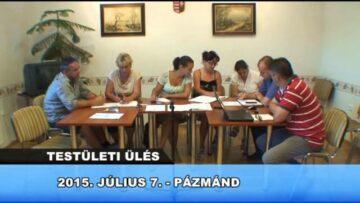 2015. július 10. – Teljes adás – Pázmánd TV