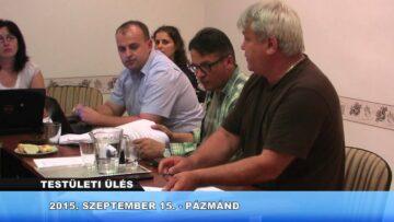 2015. szeptember 15. – Pázmánd – Testületi ülés