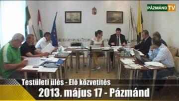 Testületi ülés – Pázmánd – 2013. május 17. 1 / 2