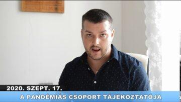 2020. szeptember 17. – A Pázmándi Pandémiás Csoport tájékoztatója