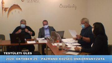 2020. október 29. – Testületi ülés – Pázmánd