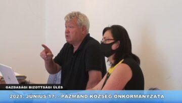 2021. június 17. – Pázmánd – Gazdasági Bizottsági ülés