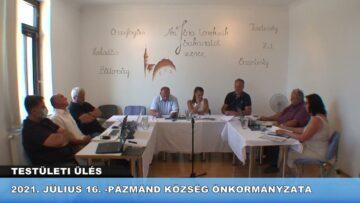 2021. július 16. – Pázmánd – Testületi ülés